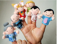 Wholesale Hot set Puppet Family Finger fantoches de dedo Puppets Cloth Doll Baby Educational Hand Toy Story Kid