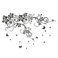 Wholesale PVC Vine Flower Butterflies Removable Room Art Mural Wall Sticker Decal