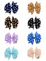 Wholesale girls quot rib ribbon Wave point spent with Alligator clip Children s hair accessories bowknot hairpin Drop shipping