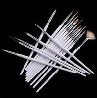 Wholesale 16pcs set Nail Art Brush Set Painting Dotting Design White Pen DHL Free Set Nail Tools