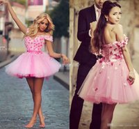 beautiful high school - Beautiful Arabic Pink Homecoming Dresses Off Shoulder with D Flower Mini Tulle Lace Up Junior High School Party Queen Dress Prom Gowns
