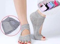 barre socks - Yoga Pilates Barre Exercise Half Toe Grip Socks Non Slip Cotton Ankle Socks