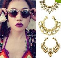 Wholesale Clip On Fake Septum Clicker Popular Non Piercing Nose Ring Hoop Shape Bead