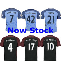 Wholesale Free ship TOP best thailand Manchester City Home away third Rugby Jerseys KUN AGUERO STERLING SILVA NASR seaso