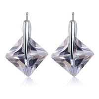 Cheap New Arrival Designer Brand 925 Sterling Silver AAA CZ Diamond Square Earring Stud Fashion Earings Jewelry Beautiful Wedding Engagement Gift