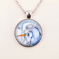 al por mayor collar al por mayor del unicornio-Venta al por mayor unicornio collar unicornio pendiente unicornio joyería arte vidrio cabochón collar
