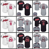 Wholesale 2016 World Series Patch Men s Cleveland Indians Yan Gomes Jose Ramirez Rajai Stitched Authentic Flexbase Baseball Jersey