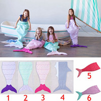air conditioning bedroom - Kids Mermaid Blankets Shark Blanket Mermaid Tail Sleeping Bag Sofa Nap Air Condition Blankets Cocoon Mattress Bedroom Blankets LJJG412