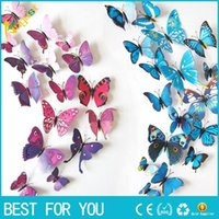 Wholesale 3D three dimensional wall stickers butterfly wall stickers size suit wedding curtain window display stickers Home Decoration