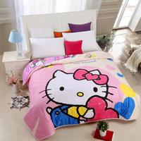 achat en gros de coeurs de courtepointe-Love Heart Bonjour Kitty Thin Quilt Home Textile Summer Quilts for Kids Lavable Cadeau Consolateur, Air conditionné Cartoon Blanket