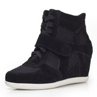 Wholesale Young Ladies Women s Formal Wedge Korean Style Hidden Heel Suede Leather Fashion Sneaker Lace up Sport Shoes