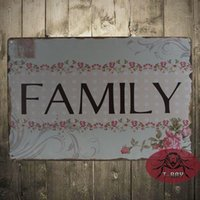 acrylic plaques - Vintage Retro Floral Letter FAMILY Tin Sign Metal Plaque Home Wall Decor H