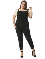 Wholesale Women s Casual Apparel Plus Size Pinafore Overalls Pants Capris w Side Pockets Black Available for Shipment Exclusively within the U S