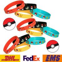 Wholesale DHL Fashion Unisex Poke Elf Ball Pikachu Bracelets Silicone Women Men Girls Children Bracelets XMAS Gifts WX B02