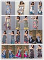 Wholesale Bohemian Style Summer Dresses for Women Sleveless Open Back Above Knee Mini Cheap Dress Wrapped Chest Waist Skirt Milk Silk Ice Silk Dress