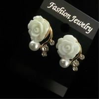 Wholesale Korean Style OL Pink Rose Flower Shiny Crystal Rhinestone Pearl Stud Earrings