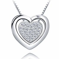 Wholesale Authentic Stealing Silver Heart in Heart Pendant Necklace Platinum Plating AAA Zircon Gift For Women Fine Jewelry Hot Sale