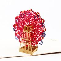 Wholesale Vintage Happy Birthday Sky Wheel Handmade Creative Kirigami amp Origami D Pop UP Greeting amp Gift Cards postcards