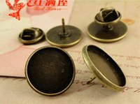 Wholesale A3996 Fit MM MM Zinc alloy plating ancient bronze round earring blanks earring setting bases time gem thorn pin retro metal accessories