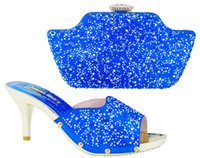 Wholesale Shoes For Gold Sequin Dress - Royal blue! New design italian shoes matching bags set. fashion High Heels and bags with lots of sequins for ladies dress HS001