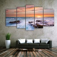 Cheap 5 Panels Modern Decorative Art Wall Paintings Canvas Printing Impressionist Landscape Pictures Combination for Living Room And Office Etc.