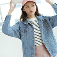 Wholesale Bf Wind Autumn And Winter Women Denim Jacket Vintage Light Blue Oversize Loose Female Jeans Coat Solid Outfit