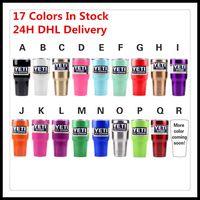 Wholesale 17 Colors Yeti Coolers Rambler Tumbler Yeti Stainless Steel Mug Green Gold Pink Orange Red Purple Blue Yeti In Stock