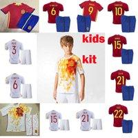 Wholesale kids spain soccer uniform spain children jerseys FABREGAS ISCO MORATA Kit de Futbol ninos spain jerseys kit