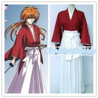 Wholesale Rurouni Kenshin Samurai X Trust and Betrayal Himura Kenshin red kimono Cosplay Costume
