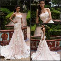 vestido de novia - Blush Mermaid Wedding Dresses Strapless with Vintage Lace Appliques Court Train Vestido De Novia Charming Bridal Gowns Custom