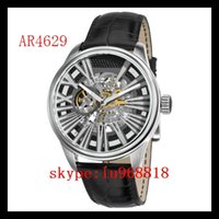 ar cases - TOP QUALITY BEST PRICE New Mens Leather Strap Meccanico Watch AR4629 AR Rose Gold Case Automatic Mechanical Wirstwatch