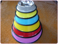 Wholesale Fashion colorful Stainless Steel Dog Feeding Bowl Cat Puppy Food Drink Water Dish
