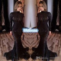 Wholesale Cheapest Black Lace Jacket - Michael Costello Long Sleeve Evening Dresses Bling Bing Black Sequins High Neck Mermaid 2016 Sexy Celebrity Gowns Pageant Prom Dresses Cheap