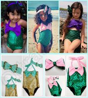 big baths - 5SET HHA740 Baby Girls design Mermaid Swimwear Children Big Bow Swimsuit Bikini Bath suit Beachwear with bow headband outfit