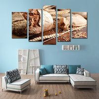 art bread - LK5128 Panels Canvas Prints Modern Wall Art Paintings for Home Living Room Kitchen Decor Stretched and Bread and Wheat Pictures Giclee A