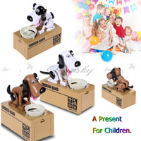 Wholesale New Creative Piggy Bank Dog Steal Money Coins Saving Box Pot Case Christmas kids Gifts automated dog Steal Coin Piggy Money Save Box Z395