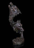 abstract bronze sculptures - Abstract Art Sculpture Decoration Bronze Copper Marble Wolf Head Statue Figurine