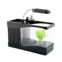 aa aquariums - High Quality Cute Lovely USB AA Mini LCD Display Clock Timer Fish Tank Aquarium for Hotel office Decor Gift