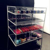 Wholesale 4 Layer Drawer Storage Box Transparent Acrylic Cosmetic Jewelry Holder Rangement Lipstick Organizer Makeup Case ZA1317