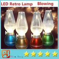 Wholesale LED Retro Lamp Lamps Novelty Lighting USB Rechargeable Blowing Kerosene Adjustable Blow On Off Night Light Home Decroration