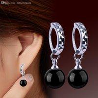 ball hoop earrings men - S925 Sterling Silver Earrings Jewelry Eardrop Fashion Simple Agate Ball Silver Hoop Earrings For Women and Man