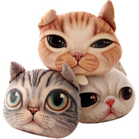 animal friendly - 2016 Creative D Shaped Grumpy Cat Face Design Throw Plush Cotton Car Cushion Pillow Case Animal Head Shaped Pillow Without Filler