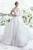 Cheap arabic wedding dresses 2016 dar sara bridal gowns beautiful off the shoulder sweetheart neckline beaded ball gown wedding gowns