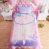 ballet duvet - Queen Twin Size Princess Lace Ballet pattern Bedding set For Girls Kids Gift Bed sheet Duvet Comforter cover Pillowcase Sham