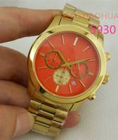 dama de la moda de la muñeca de color rosa anaranjado relojes de lujo de la marca gráfica crono funcional atractivo reloj AAA damas de la alta calidad de cuarzo horas horloge 5930