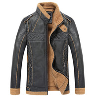 Wholesale Fall winter men s PU leather jacket fur collar leather jacket men s thicking leather jacket hfx