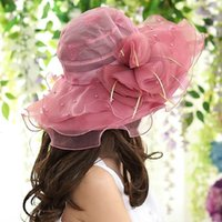 Wholesale Women Summer Sun Hat Adult Wide Brim Beach Floral Elegant Large Lace Hats Cap Stringy Selvedge Brim Foldable Ttravel Casual Cap