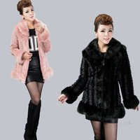 Wholesale New autumn winter Medium long imitation fur coats Women imitation rabbit hair stripe coat L XL tk1298