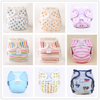 Wholesale Boy Girl Cotton Baby Cloth Diaper Adjustable Diaper Covers Washable Reusable Infant Napkins Newborn Nappy Liners Patterns Sizes