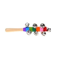 Wholesale Musical Instrument Toy Jingle Bell Rattles Hand held Baby Rattle Colorful Rainbow Wooden For Babies Kids Musical Gift
